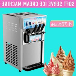 18L/H Commercial Soft Serve Ice Cream Maker Silver 3 Flavors