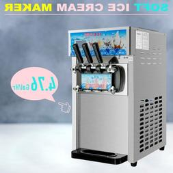 18L/H Commercial Soft Serve Ice Cream Maker 3 Flavors Silver