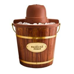 Ice Cream Maker 4-Quart Electric Wood Bucket Easy Clean See