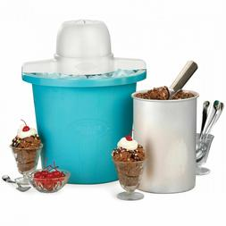 Nostalgia 4-Quart Blue Bucket Electric Ice Cream Maker NEW