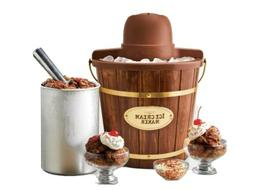 4-Quart Electric Bucket Ice Cream Maker With Easy-Carry Hand