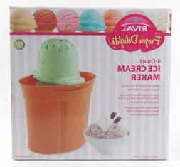 RIVAL 4 Quart Qt. Electric ICE CREAM MAKER Mint ~ Frozen Del