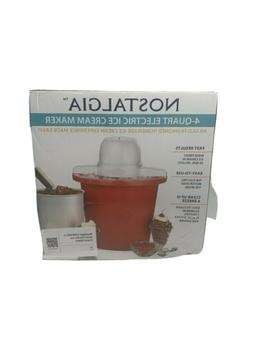 Nostalgia 4-Quart Red Bucket Electric Ice Cream Maker NEW
