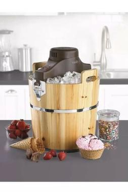 Oster 4-Quart Wood Bucket Ice Cream Maker Electric Frozen Yo