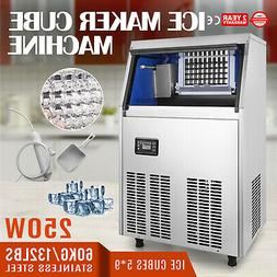 60KG/132LBS Commercial Ice Cube Maker Machine Ice-Cream 5X9