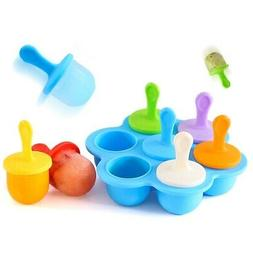 7 Cavities Silicone Baby Food Container Ice Cream Popsicle M