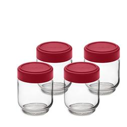 Cuisipro 6 Ounce Glass Jars , Glass/Red