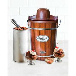 Ice Cream Maker 6 Qt. Dark Wood Bucket Powerful Motor Electr