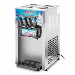 Commercial Soft Ice Cream Machine 3 Flavors Frozen Ice Cream