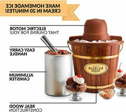 Electric Bucket Ice Cream Maker With Easy-Carry Handle Makes