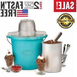 Electric Ice Cream Maker 4-Quart Bucket Freezer Home Made Fr