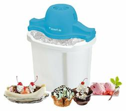 Electric Ice Cream Maker Freeze 4-Quart White Blue For Child