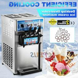 Frozen Soft Serve Ice Cream Maker Machine Mix Flavors 3 Head