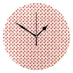 Ice Cream Bar Pink Round Clock Non Ticking Excellent Accurat