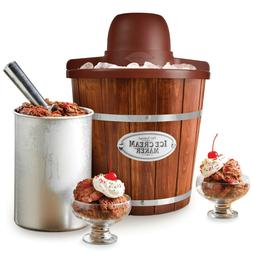 Ice Cream Maker 4-Quart Wood Bucket Electric Bucket Frozen Y
