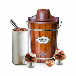 Nostalgia ICMP600WD 6-Quart Wood Bucket Ice Cream Maker Brow
