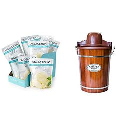 Nostalgia ICMP600WD Wood Bucket Ice Cream Maker with 8 packs
