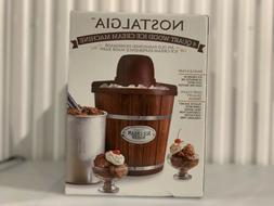 Nostalgia ICMW4NHDB 4-Quart Wood Bucket Ice Cream Maker - Br