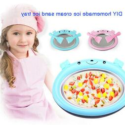 Mini Cartoon DIY Tray Ice Cream Maker Fried Yogurt Machine f