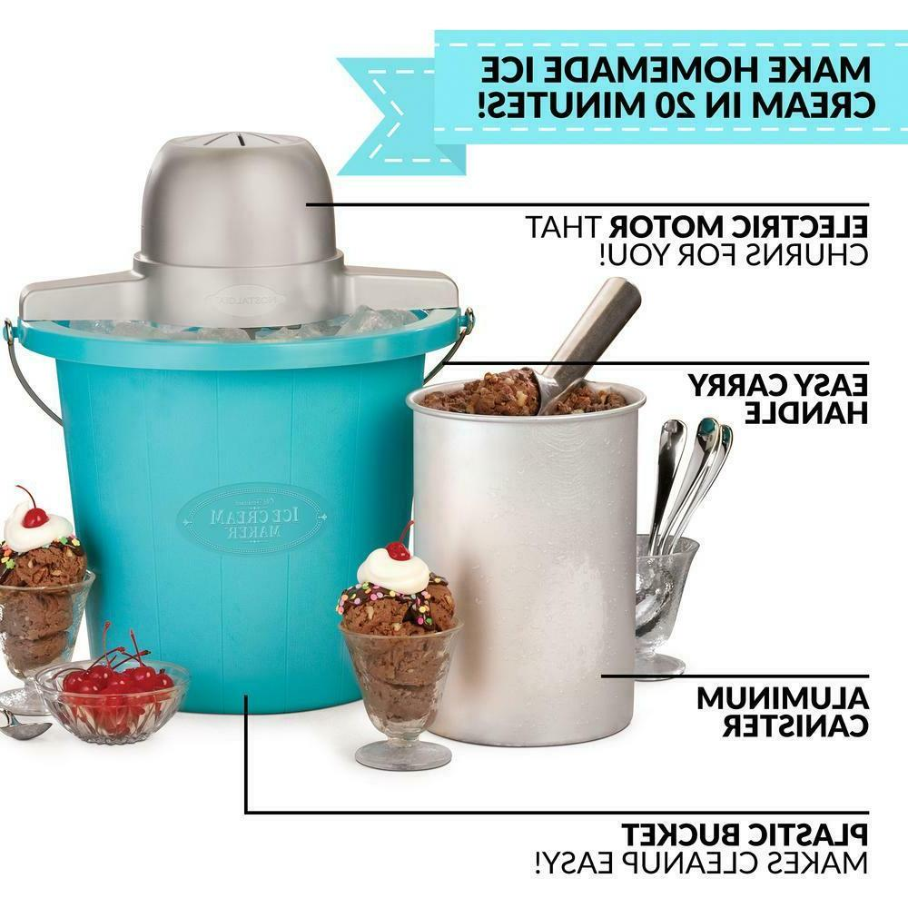 4 Qt. Ice Cream Maker with Easy-Carry Handle
