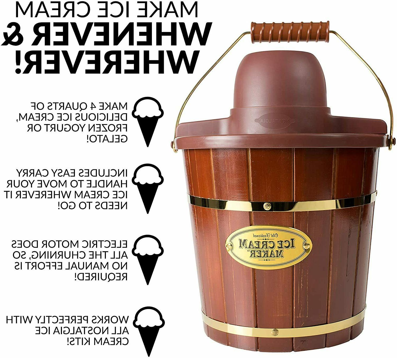 Electric Cream Maker Easy-Carry Handle Makes 4-Quarts in