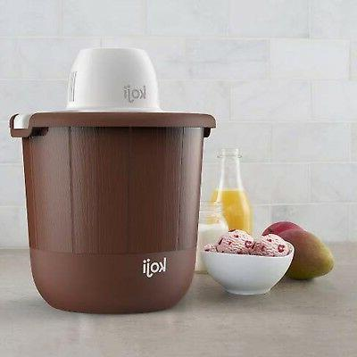 koji 4qt bucket ice cream maker brown