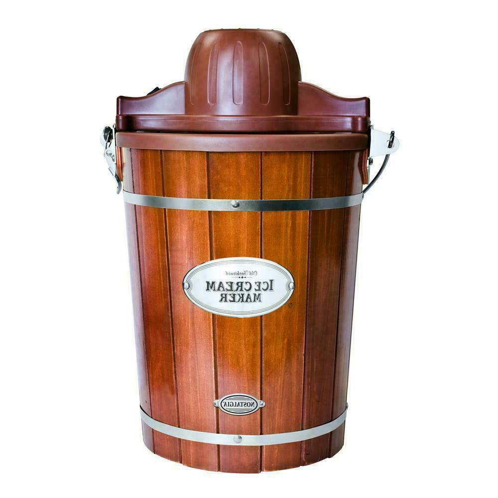 Nostalgia 6-Quart Wood Bucket Ice Cream Maker Vintage Style