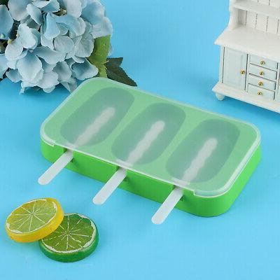 Silicone Ice Cream Mold Ice Bar Maker Mould With Lid Kitchen