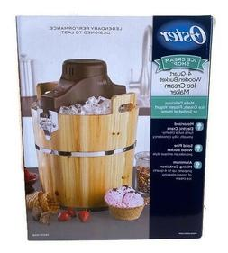 NEW Oster 4 Quart Wooden Bucket Electric Motorized Ice Cream