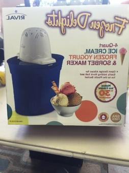 NEW Rival Frozen Delights Ice Cream/Yogurt and Sorbet Maker,