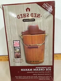 Red Shed Old Fashioned Ice Cream Maker 6 Qt. Electric Or Han