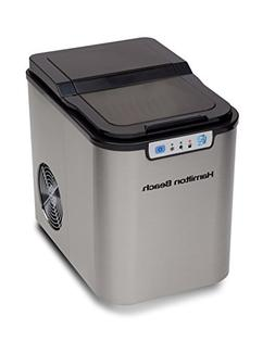 Hamilton Beach Portable Ice Maker, Black with Stainless Stee