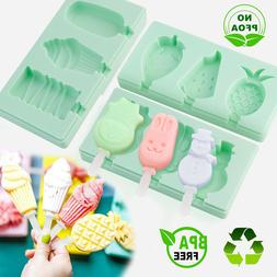 Silicone Ice Cream Mold with Lid, DIY Snowman Fruit Ice Pop