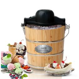 Elite Gourmet Old Fashioned Electric Ice Cream Maker Solid P