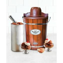 Dessert 6-Quart electric,Wood Bucket frozen Ice Cream Maker,